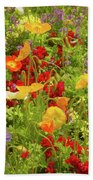 The World Laughs In Flowers - Poppies Beach Sheet