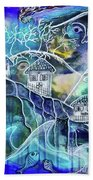 Three Houses On A Cliff Beach Towel by Mimulux patricia No