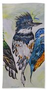 Three Kingfisher Birds - Painting By Ella Beach Towel