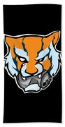 Tiger Head Bitting Beer Can Orange Beach Towel