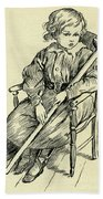 Tiny Tim From A Christmas Carol By Charles Dickens Beach Towel