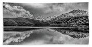 Topaz Lake Winter Reflection, Black And White Beach Sheet