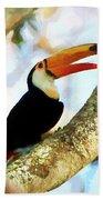 Toucan On A Tree Beach Sheet