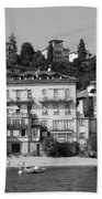 Town In The Shore Of Lake Como In Black And White Beach Towel