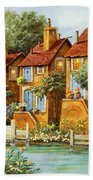 Tre Case Con La Luce Beach Towel by Guido Borelli