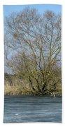 Tree On Frozen Lake Beach Towel