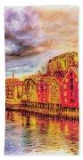 Trondheim - Waterfront Evening Beach Towel