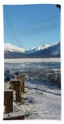 Turnagain Arm And Chugach Range From Sunrise Alaska Beach Towel