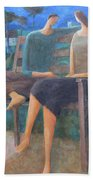 Two Boats In The Night Beach Towel