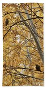 Two Owls In Autumn Tree Beach Towel