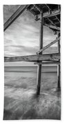 Uner The Pier In Black And White Beach Towel