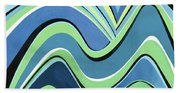 Untitled  Abstract Blue And Green Beach Towel