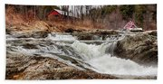 Upper Cox Brook Fall Covered Bridge Beach Towel