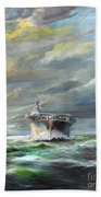 Uss Enterprise Returns To Pearl Beach Towel