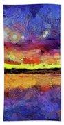 Van Gogh Sunset Reflection Beach Towel