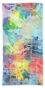 Vancouver Map Watercolor Beach Towel