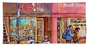 Verdun Montreal Storefront Painting Jessie Et Cie Beaute Candy Nail Shop Hockey Artist C Spandau Art Beach Towel