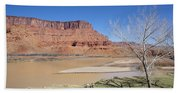 View From A Cabin At Sorrel River Ranch On The Colorado River Ne Beach Towel