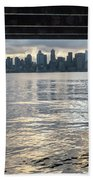 View Of Downtown Seattle At Sunset From Under A Pier Beach Towel