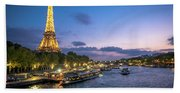 View Of The Eiffel Tower During Sunset From The Scene River Beach Towel