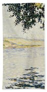 View Of The Seine At Herblay     Beach Towel