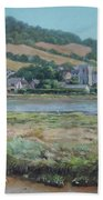 Village Of Axmouth On The River Axe Beach Towel by Martin Davey