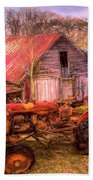 Vintage At The Farm Watercolors Painting Beach Towel