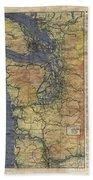 Vintage Auto Map Western Washington Olympic Peninsula Hand Painted Beach Towel