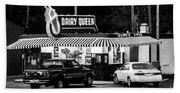Vintage Dairy Queen At Night Beach Sheet
