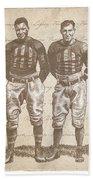 Vintage Football Heroes Beach Towel by Clint Hansen