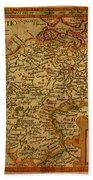 Vintage Map Of Belgium And Flanders Beach Towel
