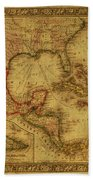 Vintage Map Of Mexico Beach Towel