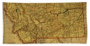 Vintage Map Of Montana Beach Towel