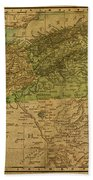 Vintage Map Of North Africa Including Morocco Algeria And Tunisia 1901 Beach Towel