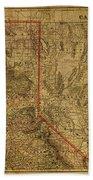 Vintage Map Of Northern California Beach Towel