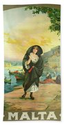 Vintage Poster - Malta Beach Towel