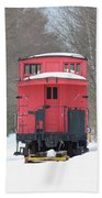 Vintage Red Caboose In Winter Beach Towel