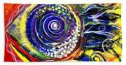 Violet Fish On Red And Yellow Beach Towel