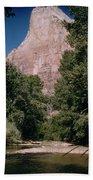 Virgin River And Cliff In Zion National Park, Utah - Utah300 00303 Beach Towel