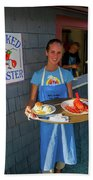Waitress Serving Lobster  Beach Towel