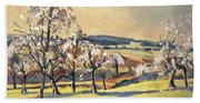 Warm Spring Light In The Fruit Orchard Beach Towel