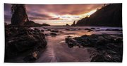 Washington Coast Dusk Tide Motion Beach Towel