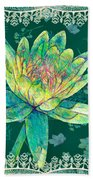 Water Lily And Lace Beach Towel