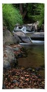 Water Stream On The River With Small Waterfalls Beach Towel