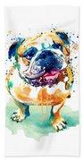 Watercolor Bulldog Beach Towel