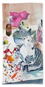 Watercolor - Kitten On My Painting Table Beach Towel