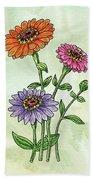 Watercolor Orange Pink Purple Zinnia Flowers Beach Towel