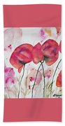 Watercolor - Poppy Portrait Beach Towel