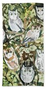Watercolor - Screech Owl And Forest Design Beach Towel