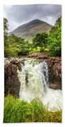 Waterfall Under The Mountain Beach Towel